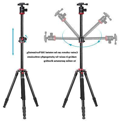 Neewer Camera Tripod 184cm Carbon Fiber Rotatable Center Column