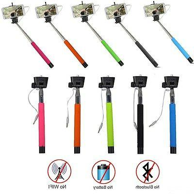 wired extendable handheld selfie stick monopod
