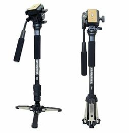 Professional Camera Monopod Fluid Video Head with Folding Fe