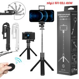 Extendable LED Selfie Stick Tripod Wireless Remote Stand Fr