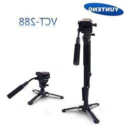 Yunteng VCT-288 Tripod Monopod+Fluid Pan Head+Holder for Can